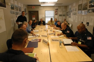 Command and general staff meeting, ESF-10 Forward Operating Base Baton Rouge, Oct. 2005.