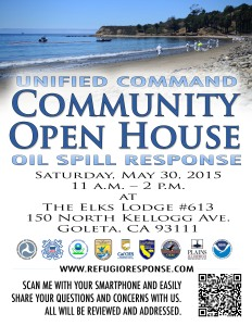 A flier used to advertise a community open house during the response to the May 2015 Refugio Oil Spill in Santa Barbara, Calif.