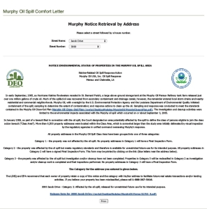 """A Louisiana Department of Environmental Quality """"Comfort Letter"""" for a now non-existent address in Chalmette, La."""